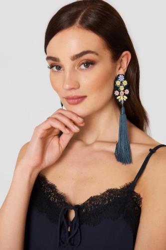 MANGO Fringe Beads Earrings - Blue