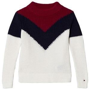 Tommy Hilfiger White Navy And Red Chevron Colorblock Knitted Sweater 3...