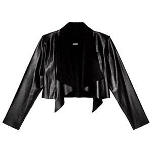 Guess Black Pleather Waterfall Cropped Cardigan 10 years